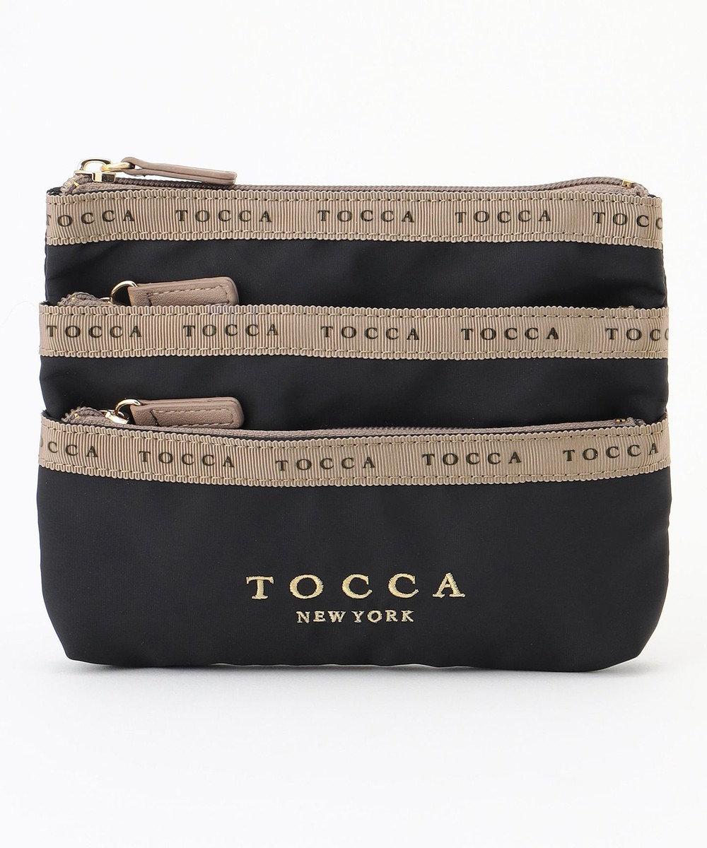 TOCCA LOGO RIBBON 3POCKET POUCH ポーチ ブラック系