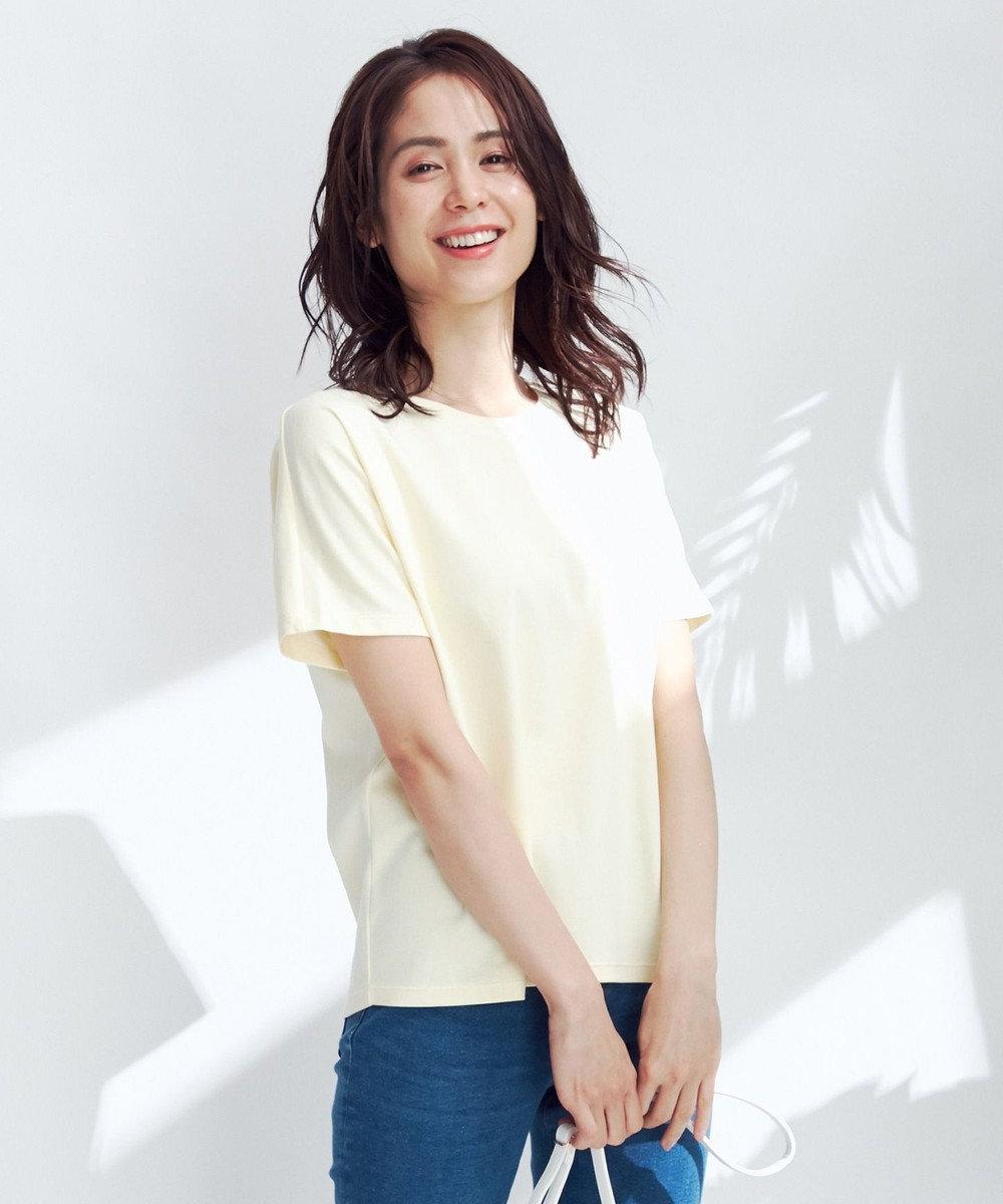 any FAM L 【定番人気】【UVケア】プレミアムベーシック Tシャツ ライトイエロー系