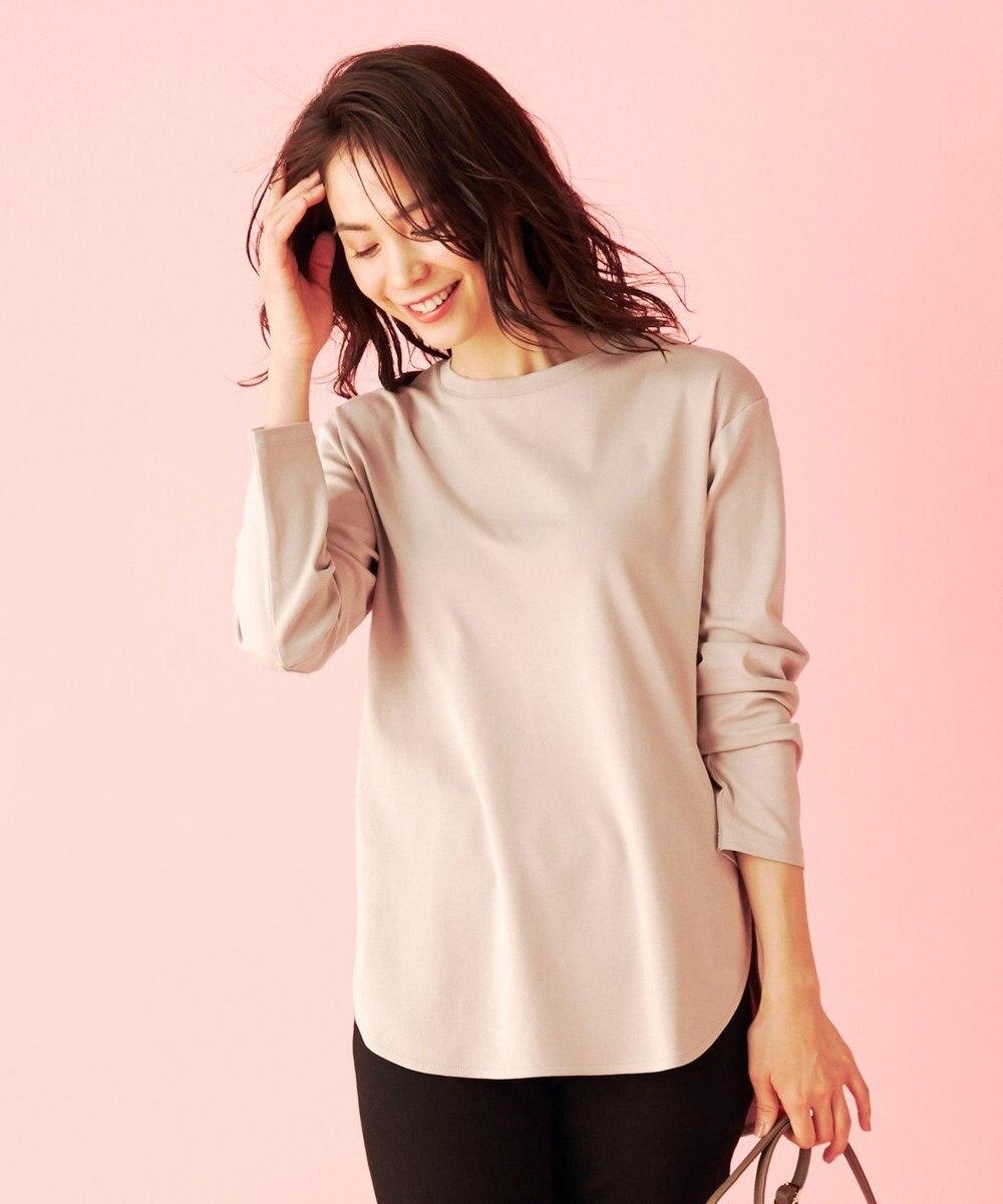 any FAM L USAコットン裾テール  ロングTシャツ ベージュ系