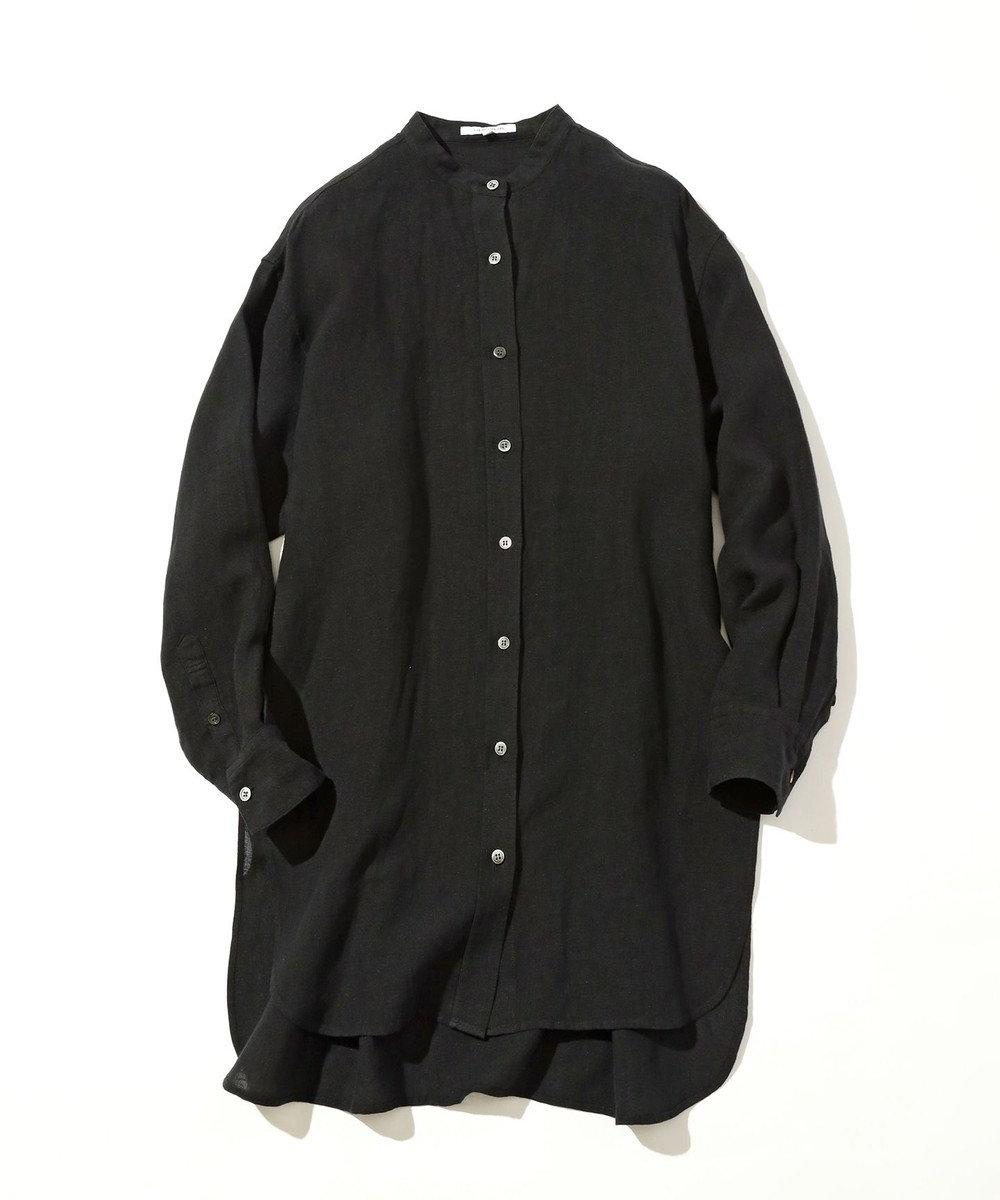 23区 L 【中村アンさん着用】LIBECO バンドカラー ビック シャツ(番号2K25) チャコールグレー系