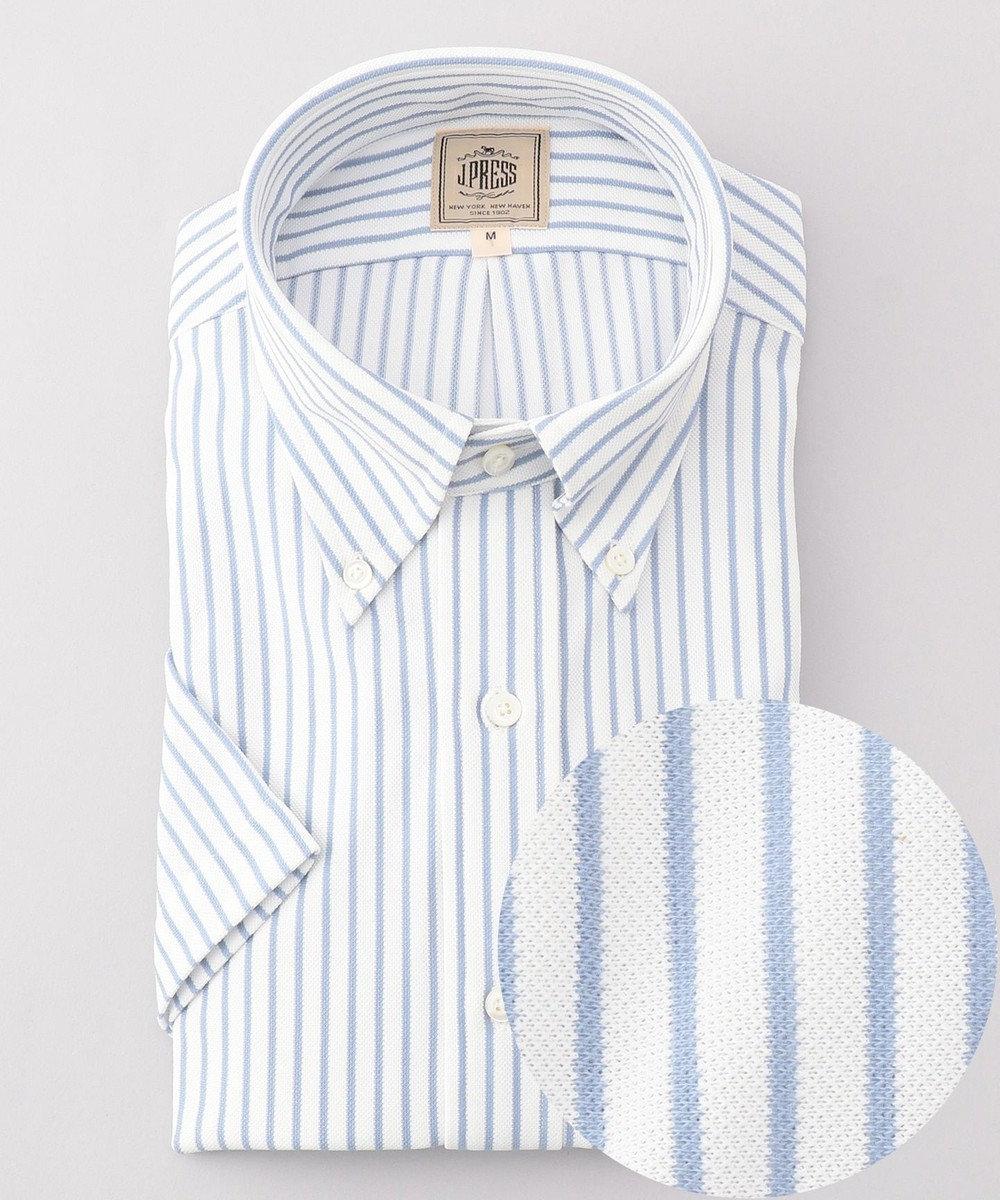 J.PRESS MEN 【J.PRESS PLUS】カノコインレイボーダーパッチポケット BDシャツ サックスブルー系1