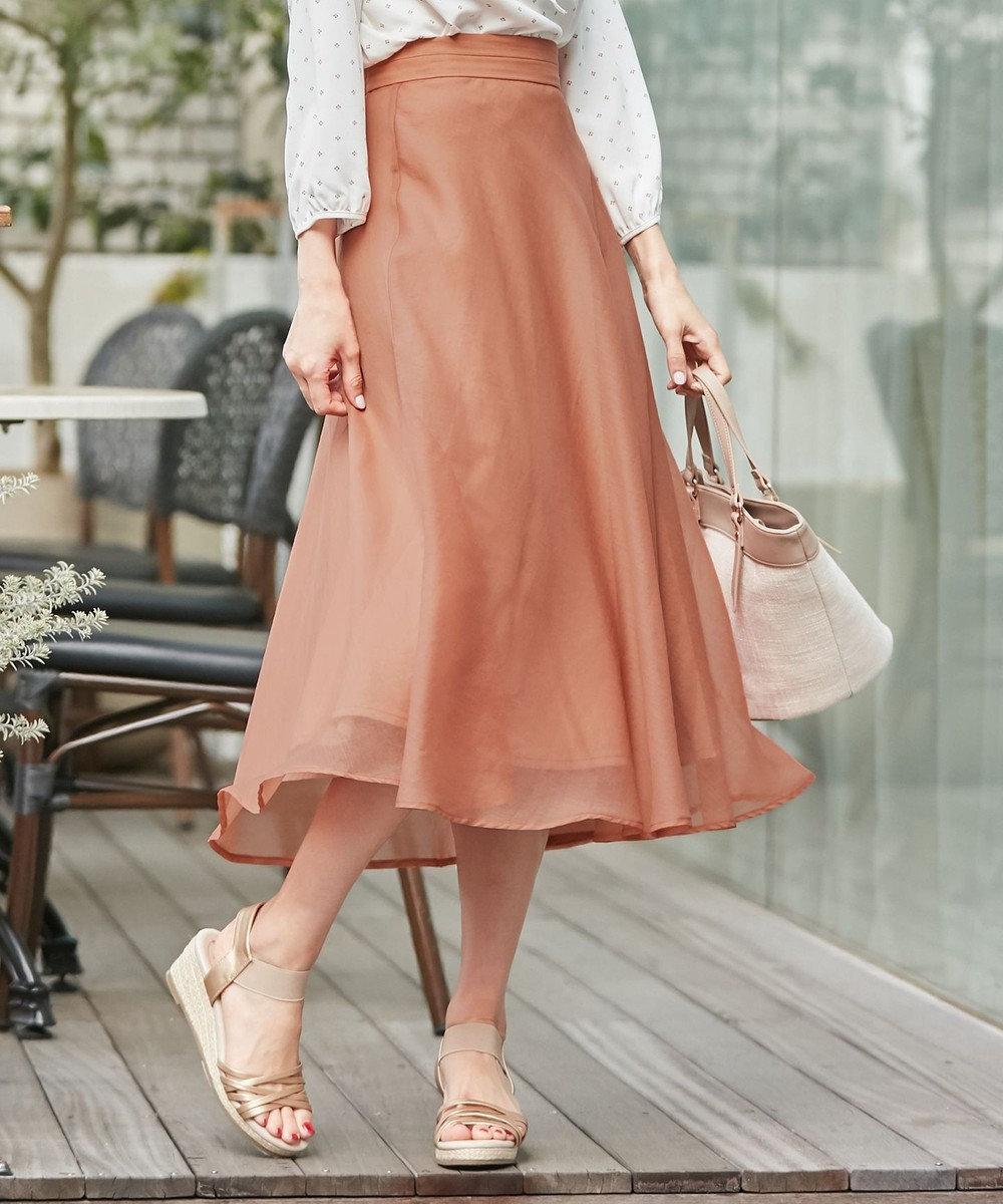 any SiS S 【洗える】エアリーシアー スカート オレンジ系