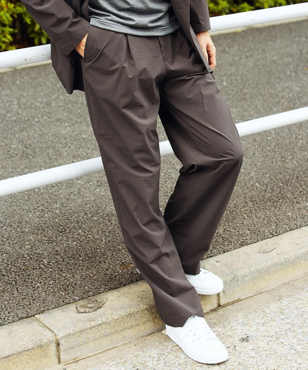 KASHIYAMA EASY 【受注生産】<WASHABALE>強撥水4WAYストレッチ 1タックワイドパンツ(サイズXS~7XL) ブラウン