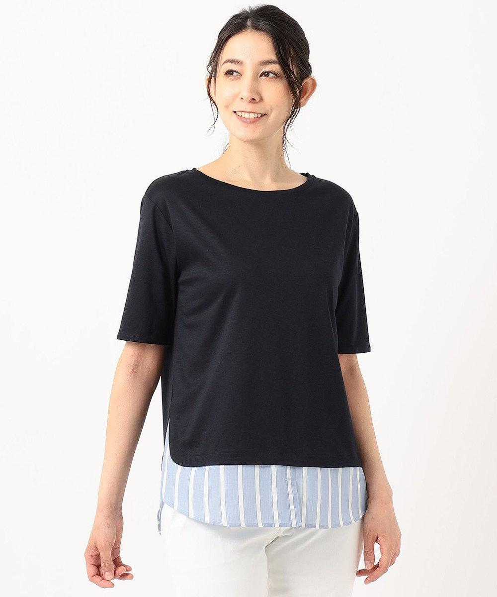 自由区 ストライプシャツ 重ね着風  プルオーバー Tシャツ ネイビー系