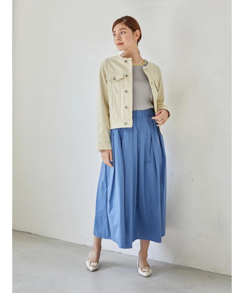 YECCA VECCA ペーパーライクコットンタックギャザースカート Blue