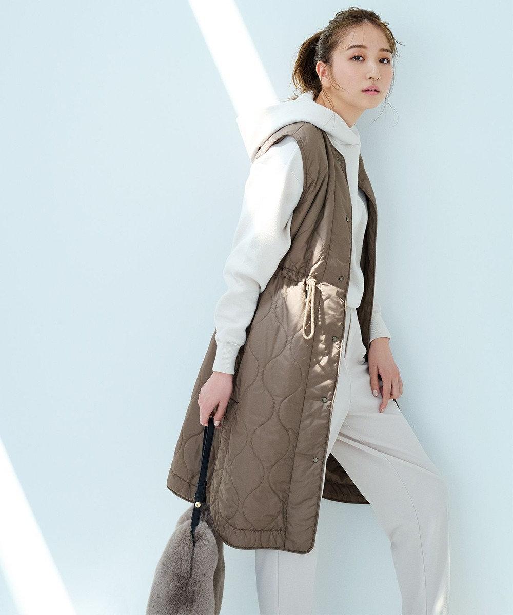 UNFILO L 【洗える/軽量】エアーキルト ジレ カーキ系