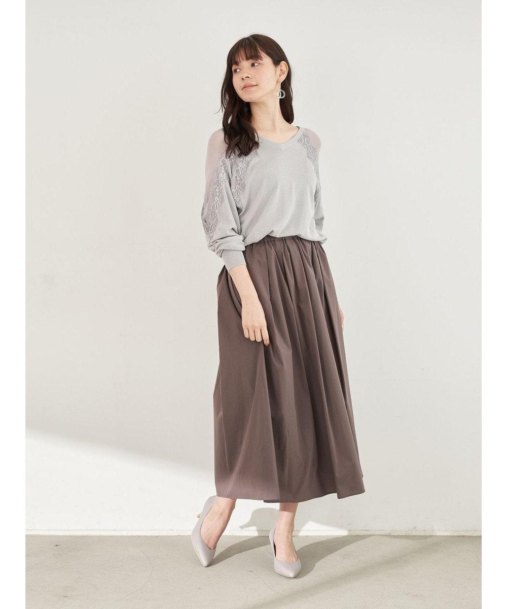YECCA VECCA ペーパーライクコットンタックギャザースカート Charcoal Gray