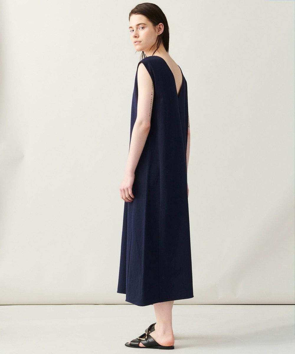JOSEPH 【洗える】スクエアジャージ Vネックドレス ネイビー系