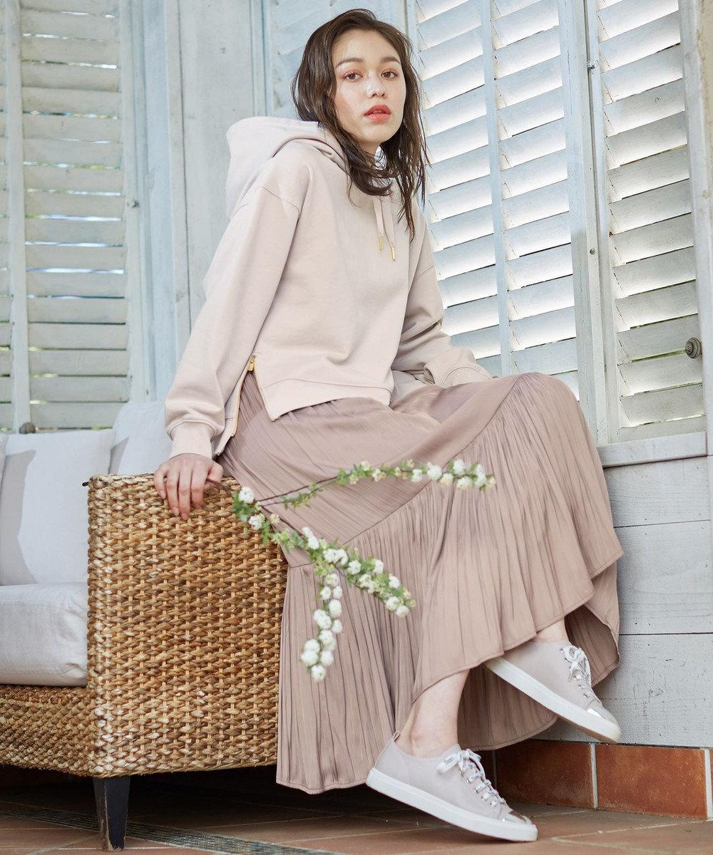 Feroux 【ウエストゴム】クリンクルティアード スカート キャメル系