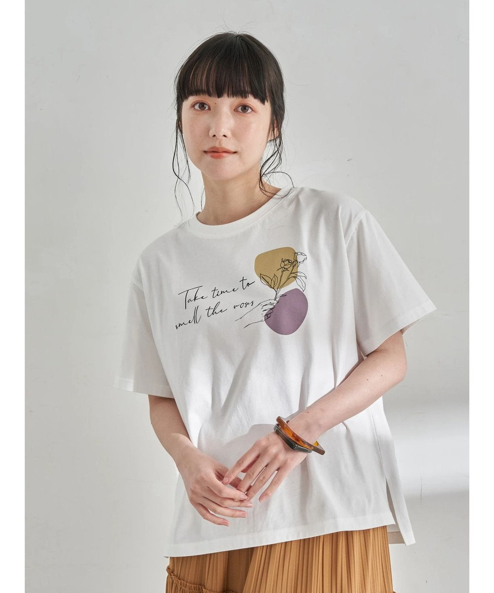 earth music&ecology Take time to smell BOX Tシャツ Off White
