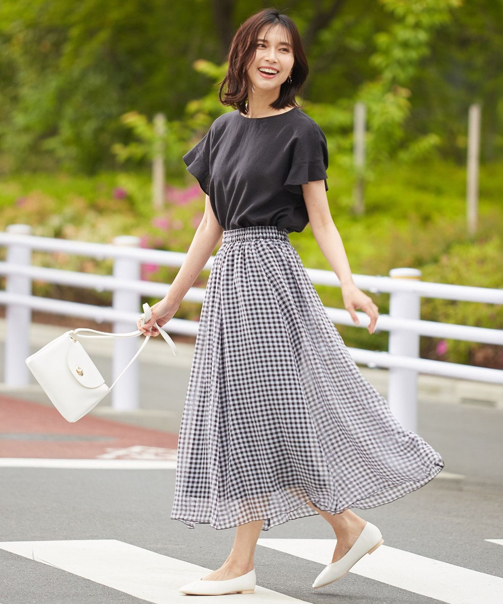 any FAM L ギンガムシアー チェック スカート ブラック系5