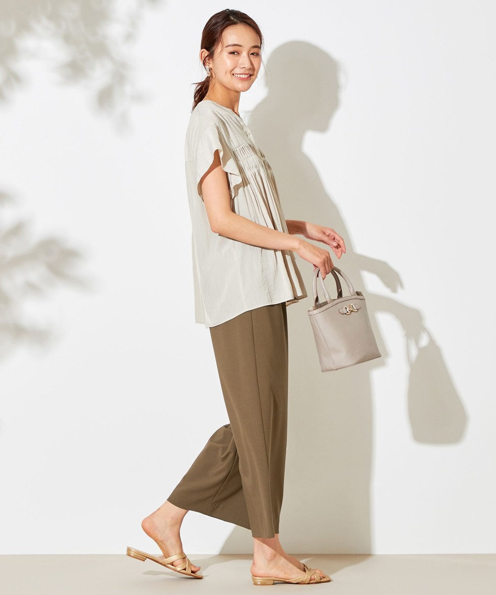 any SiS L 【洗える】フロントタック ブラウス アイボリー