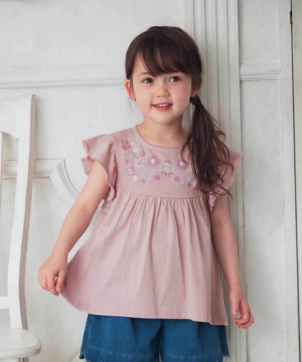 any FAM KIDS 刺繍風 チュニック丈 カットソー ライラック系