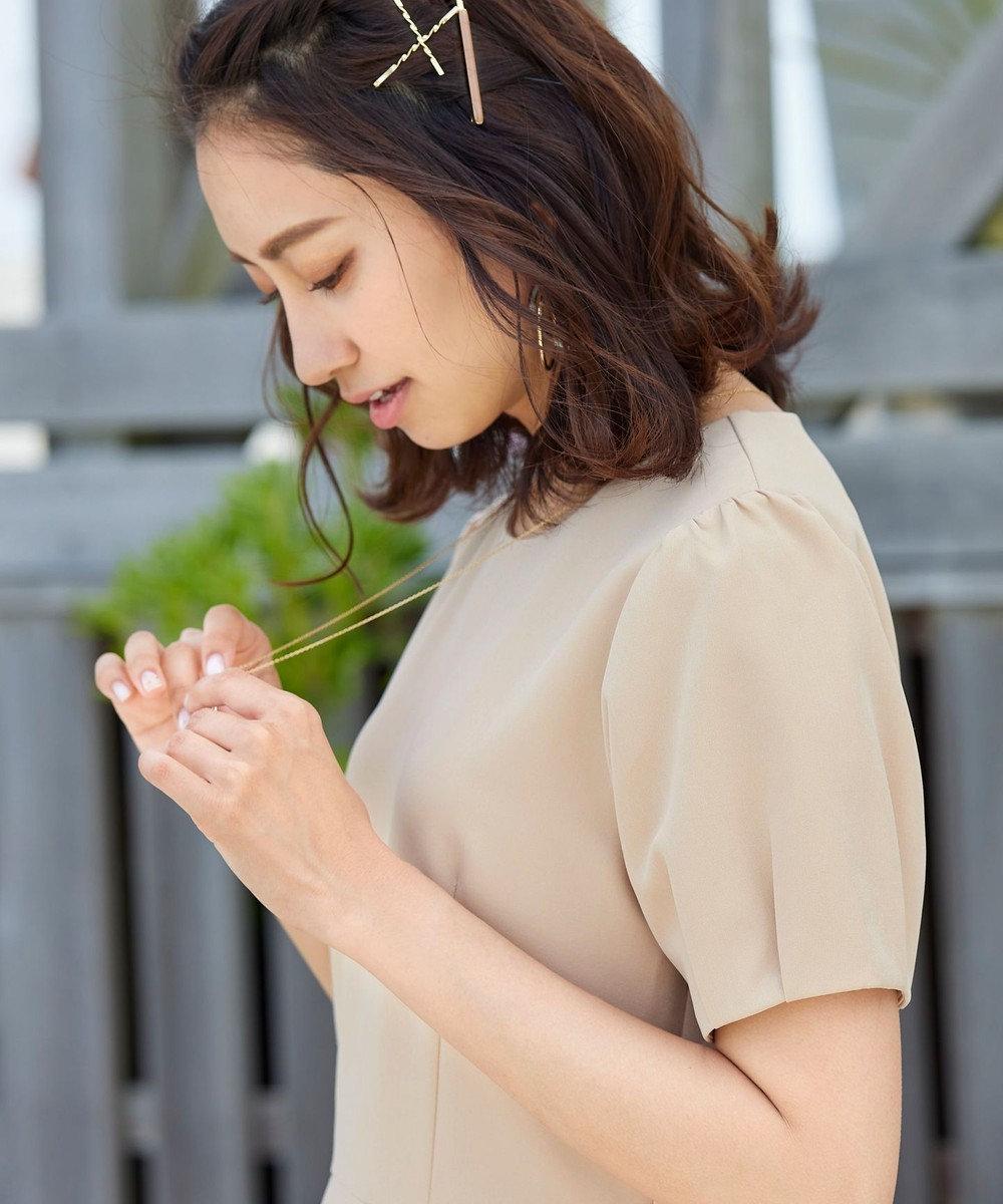 Tiaclasse 【洗える】大人可愛いタックパフ袖ワンピース ベージュ