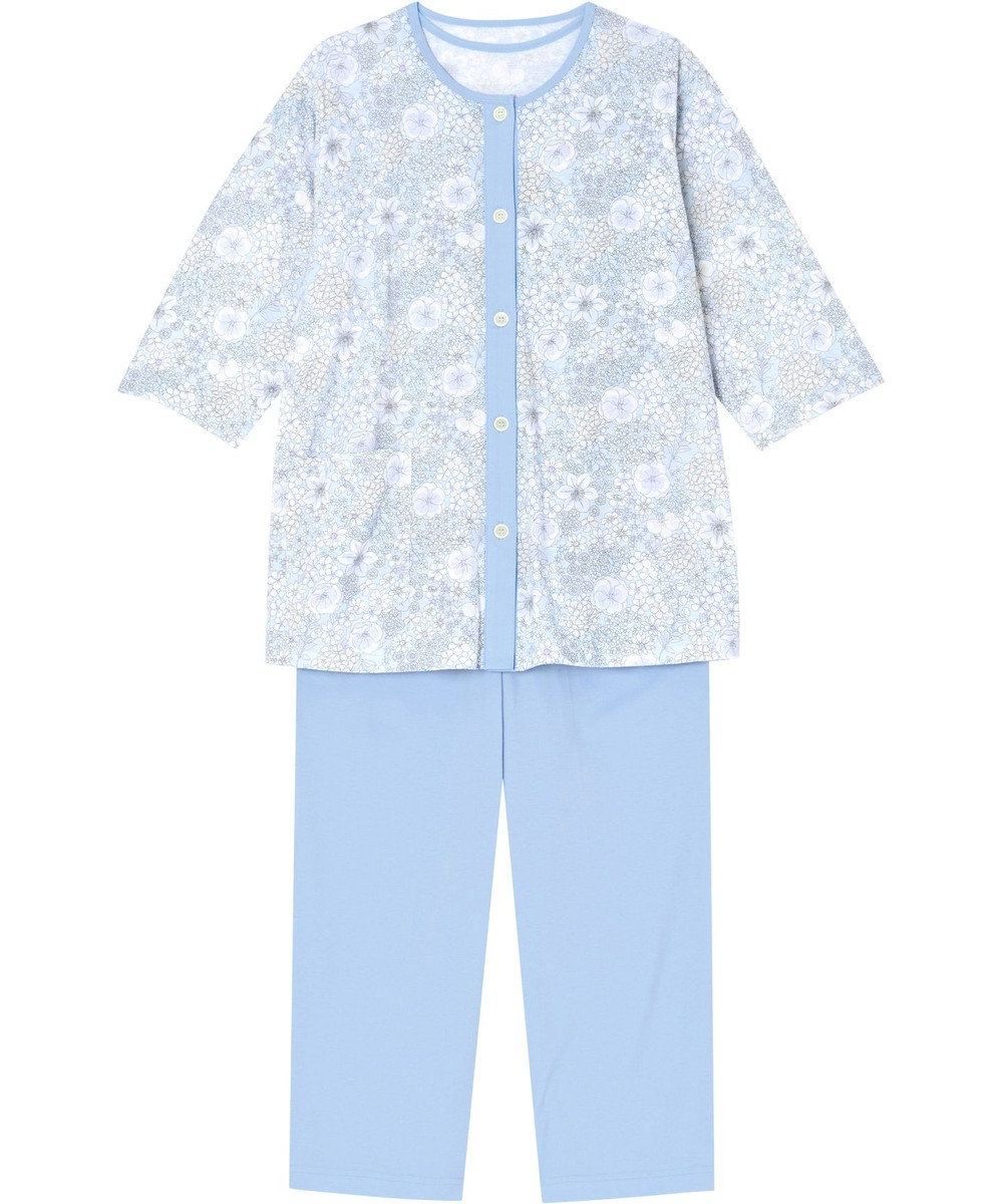 Wing 【パジャマ】3点セット 綿100% 花柄 ウイング/ワコール EP8082 サックス