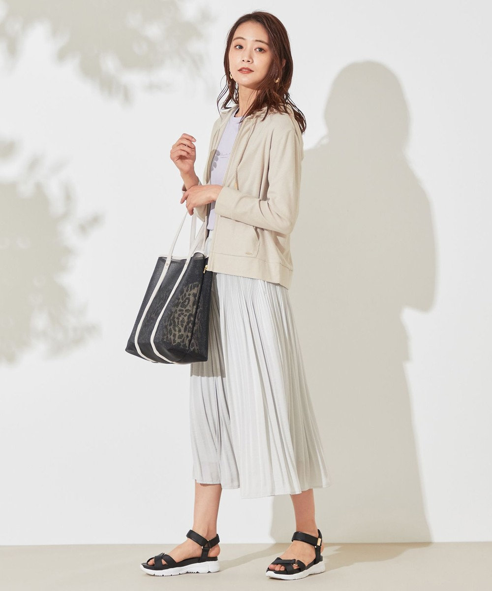 any SiS L 【UVケア】ミニボーダー パーカー グレージュ