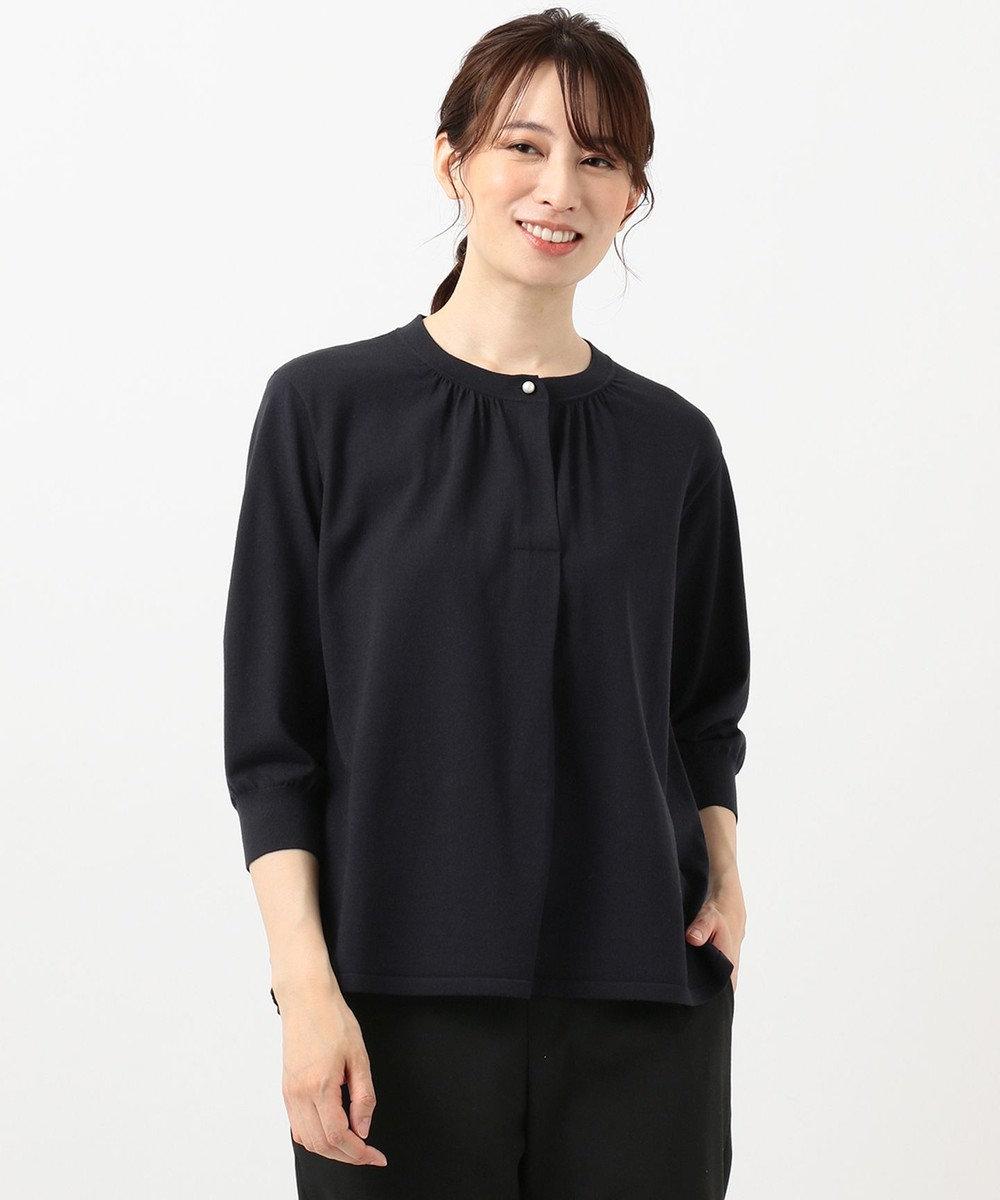J.PRESS LADIES S 【洗える】PRINCESS バンドカラー ニット ネイビー系
