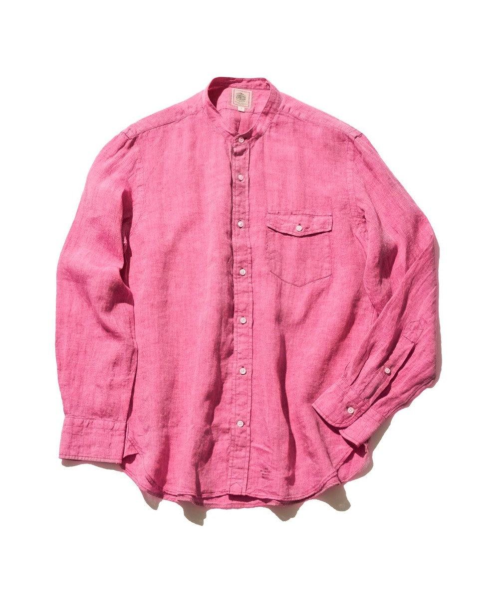 J.PRESS MEN ノルマンディーリネンバンドカラー シャツ ピンク系