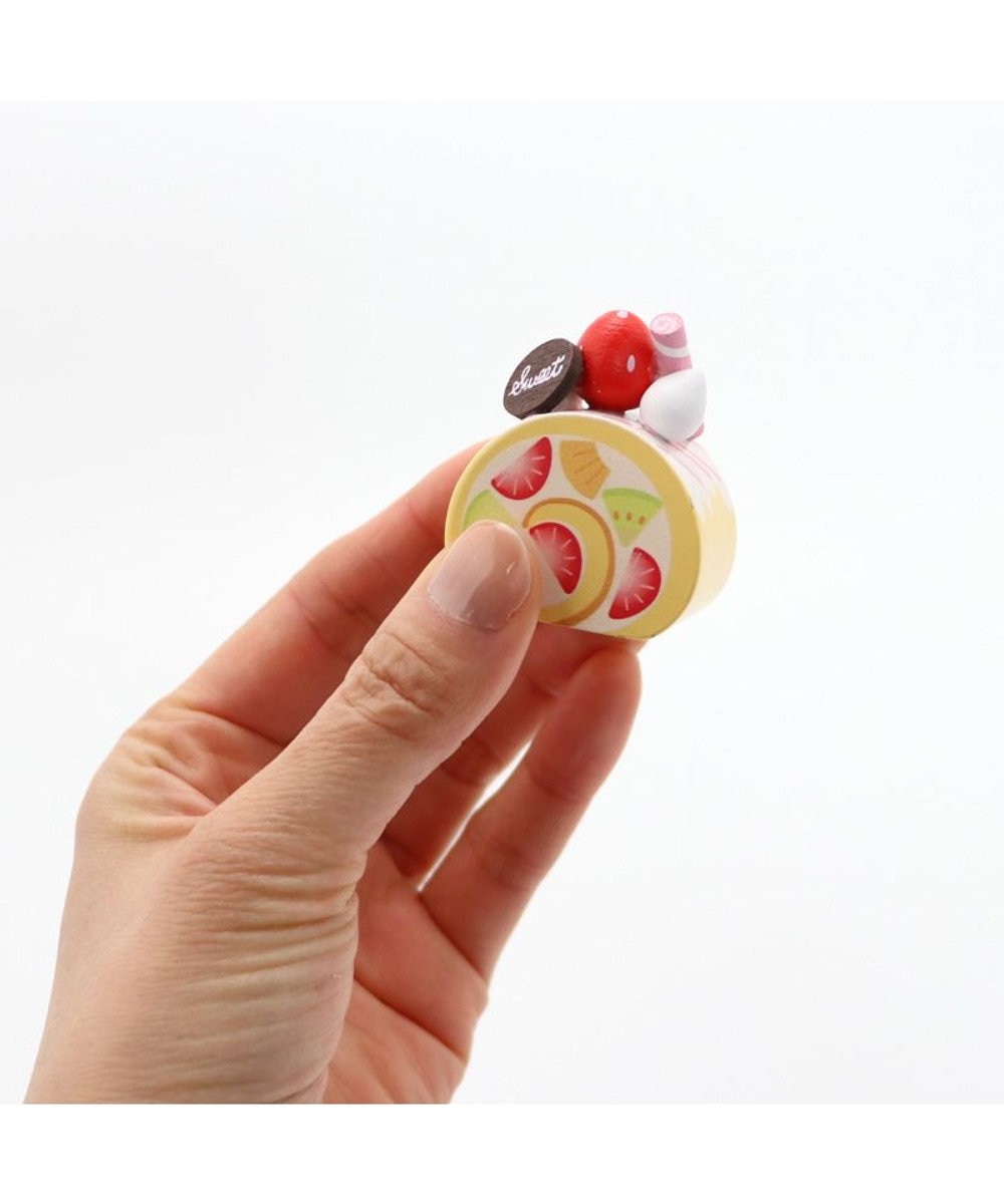 Mother garden マザーガーデン 木製 ミニケーキ ≪ハートのミルフィーユ・いちご≫ 単品 木のおままごと ショートケーキ 木のおもちゃ 磁石 マグネット くっつくおもちゃ 目印 ピンク(淡)