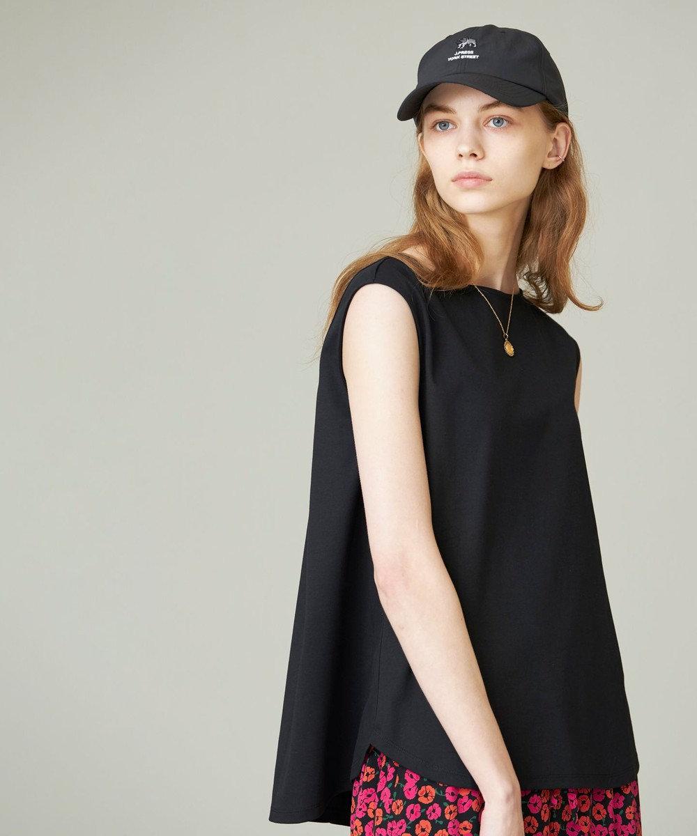 J.PRESS YORK STREET 【WOMEN】ハイゲージスムース キャップスリーブ カットソー ブラック系