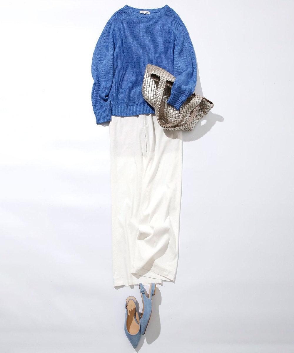 23区 【中村アンさん着用】リネンビスコースストレッチストレートパンツ(番号2H36) ホワイト系