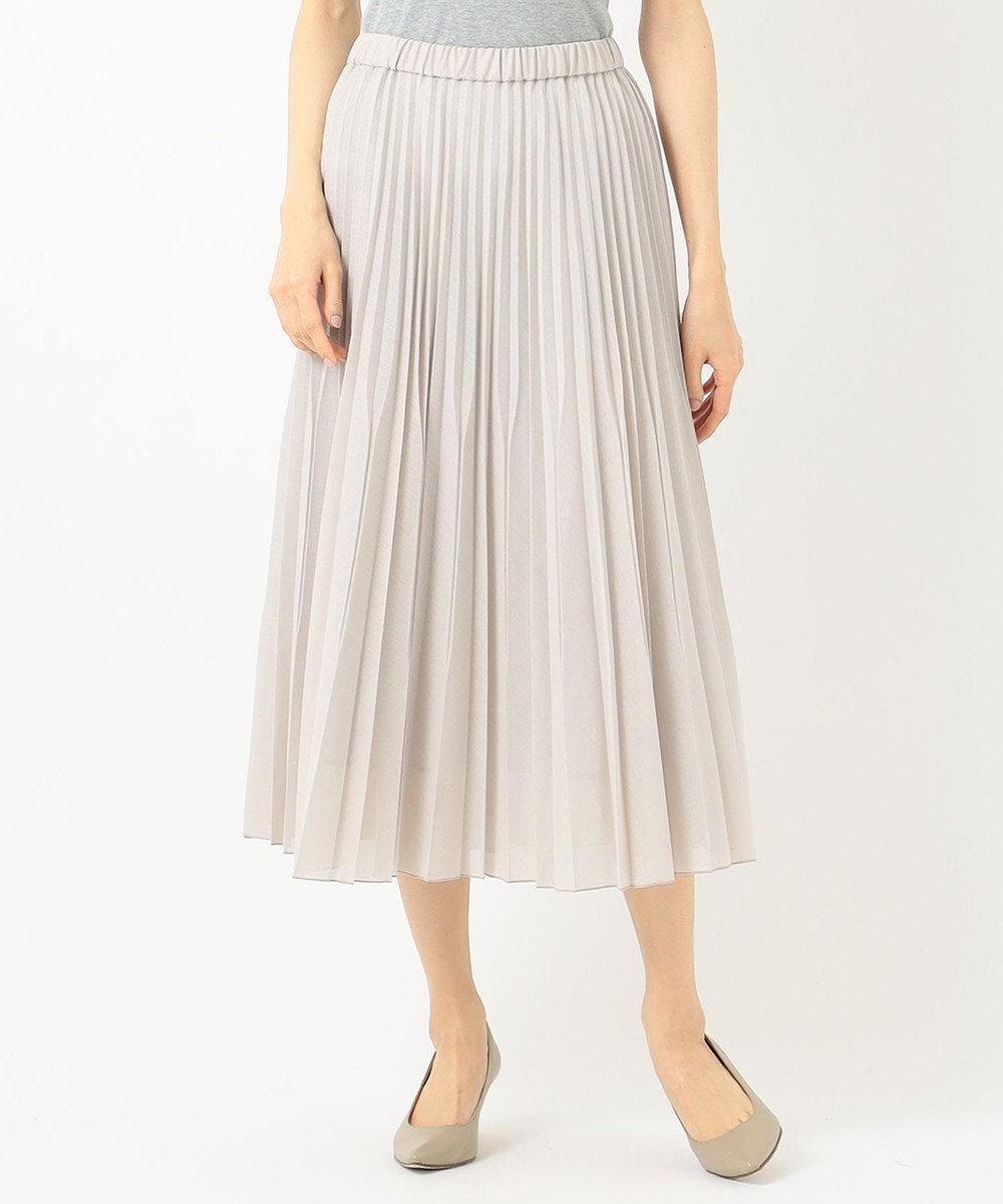 any FAM L 【優木まおみ着用】【洗える】ツイストボイルダブル  プリーツスカート ベージュ系