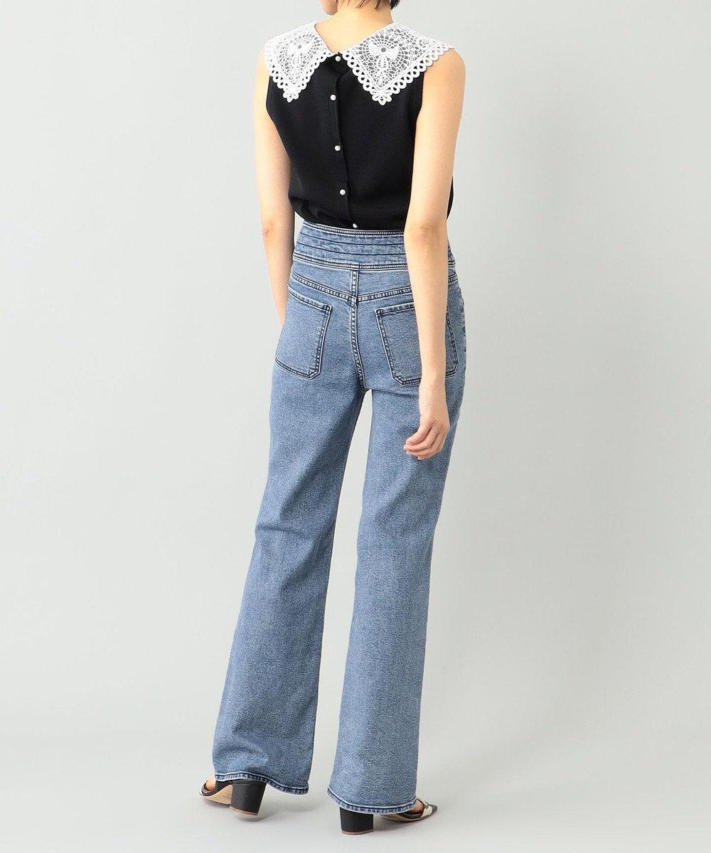 GRACE CONTINENTAL 刺繍衿ニットノースリーブトップ ブラック