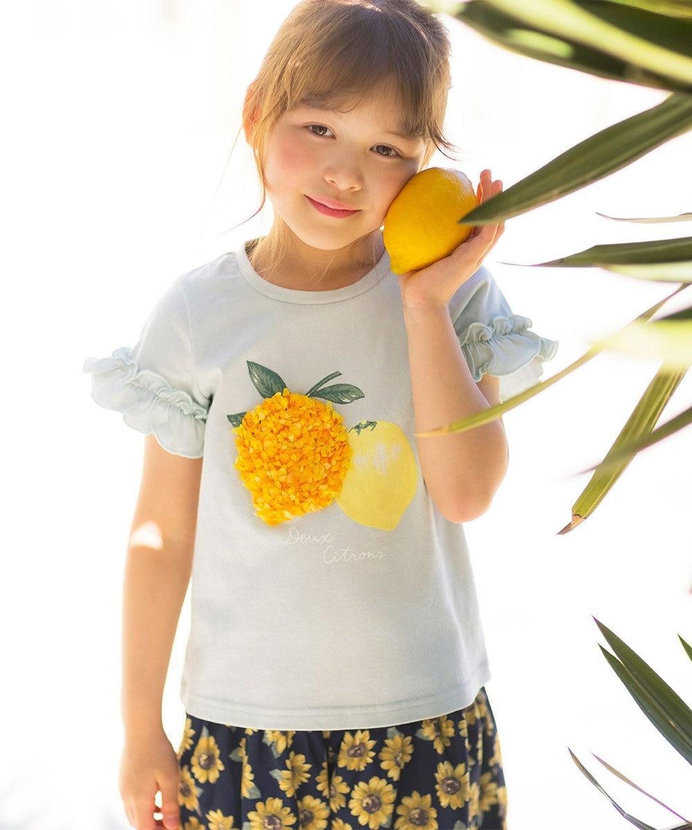 any FAM KIDS シフォンモチーフ フルーツTシャツ ライトグリーン(レモン)