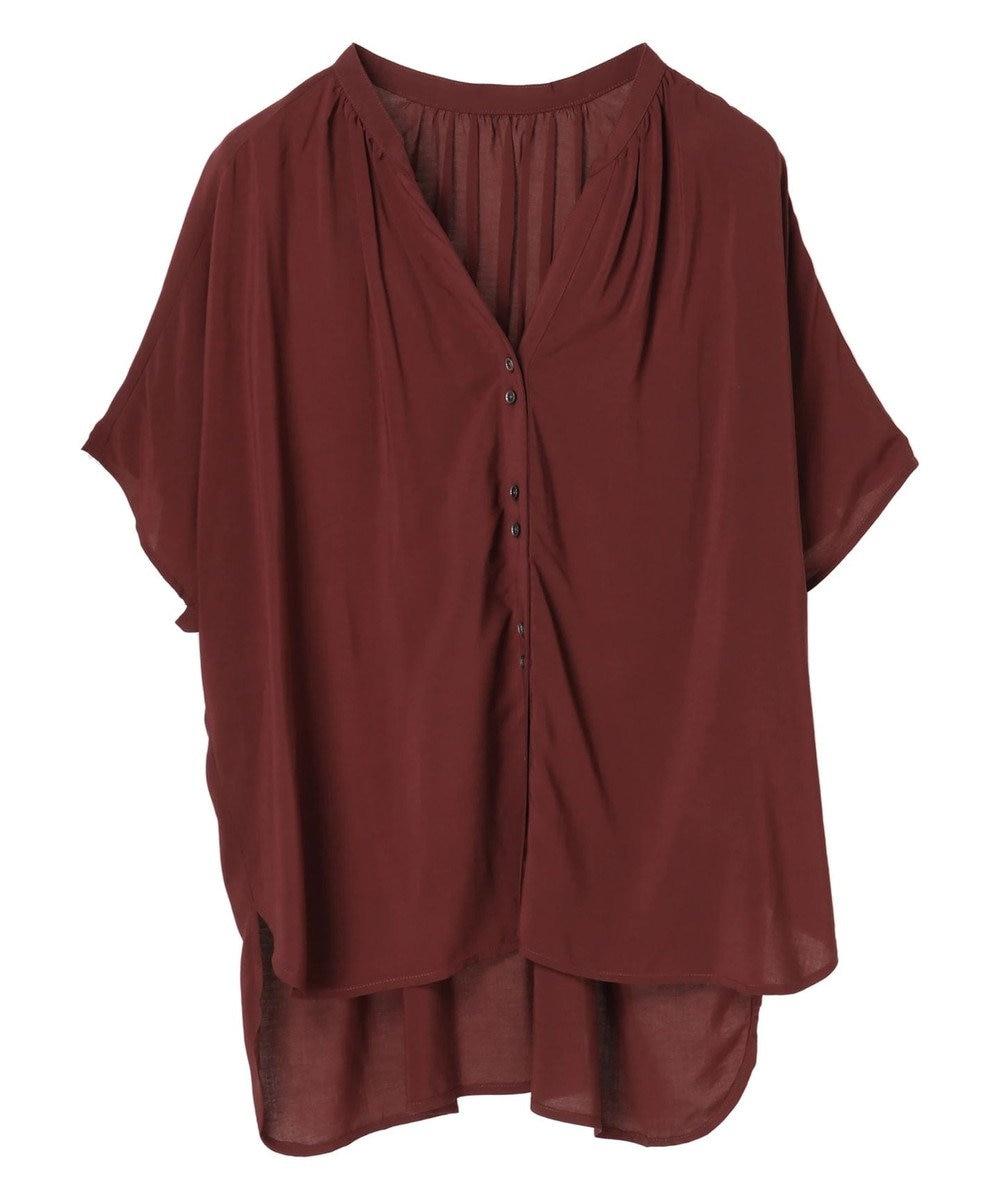 YECCA VECCA ・レーヨンローンバックシャーリングシャツ Brown
