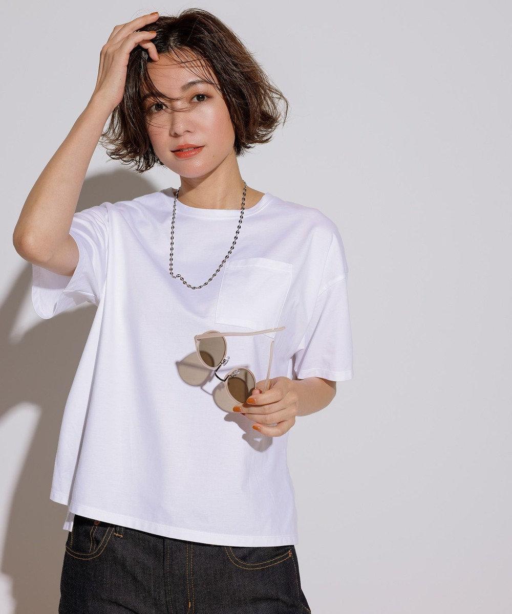 23区 【一部店舗限定】コットンジャージー ポケット Tシャツ ホワイト系