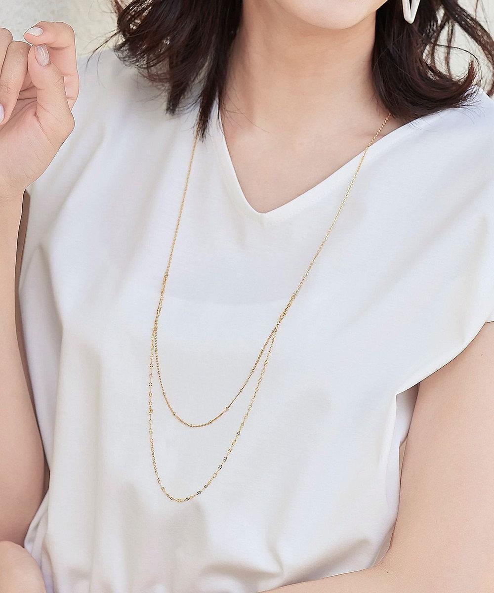 Tiaclasse 【日本製】大人可愛い2連風チェーンネックレス ゴールド