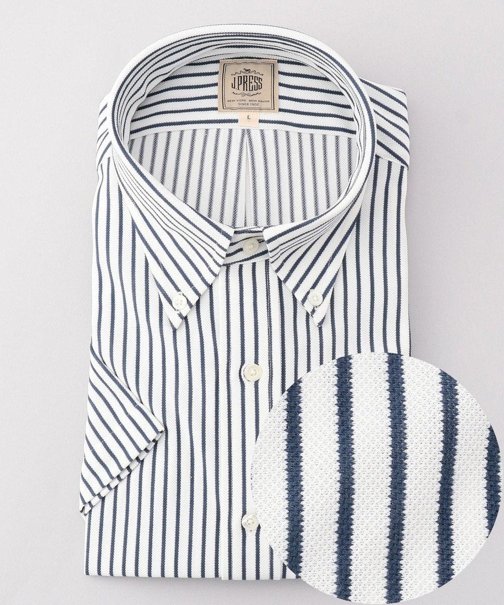 J.PRESS MEN 【J.PRESS PLUS】カノコインレイボーダーパッチポケット BDシャツ ネイビー系1