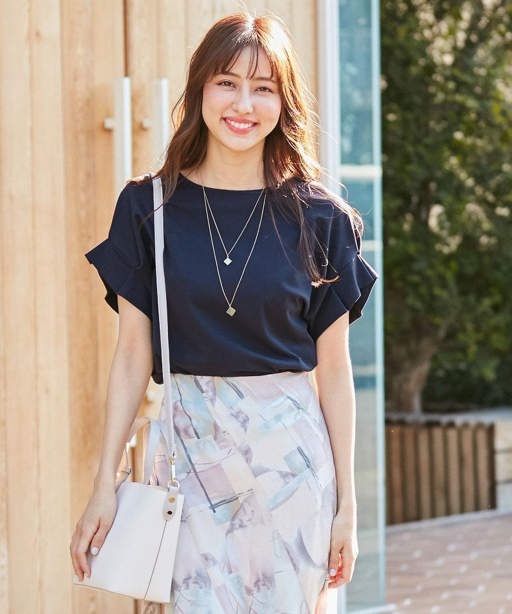 any SiS S 【UVケア】ヒーリングカラー タックスリーブ Tシャツ ネイビー