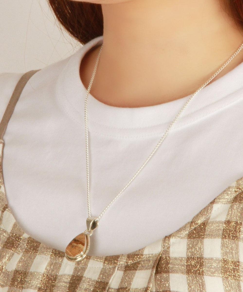 WYTHE CHARM 【フランス天然石ペンダント】ピクチャージャスパーしずく型ネックレス シルバー