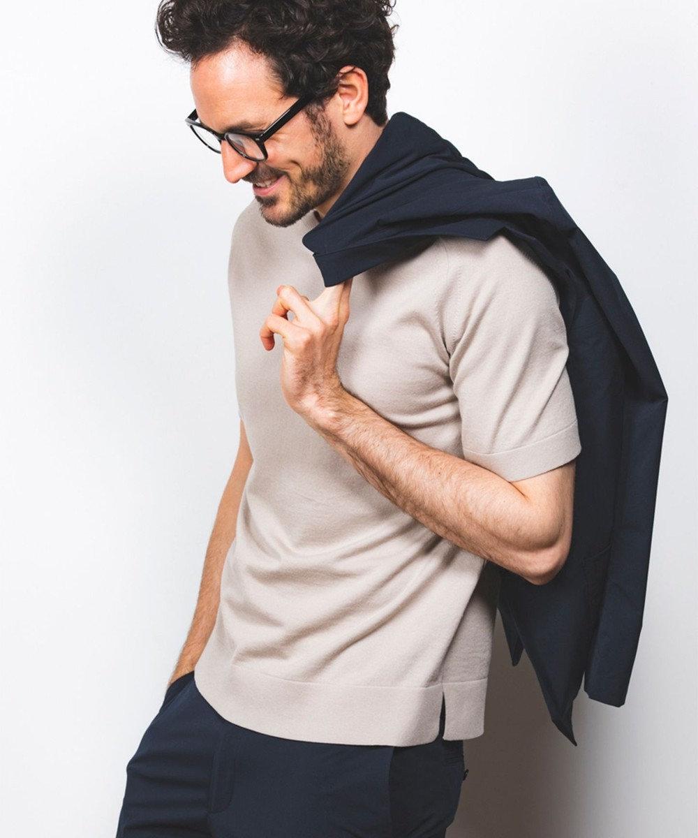 GOTAIRIKU 【大人のカジュアルTOPS&ジャケットinにも】ニットTシャツ ベージュ系