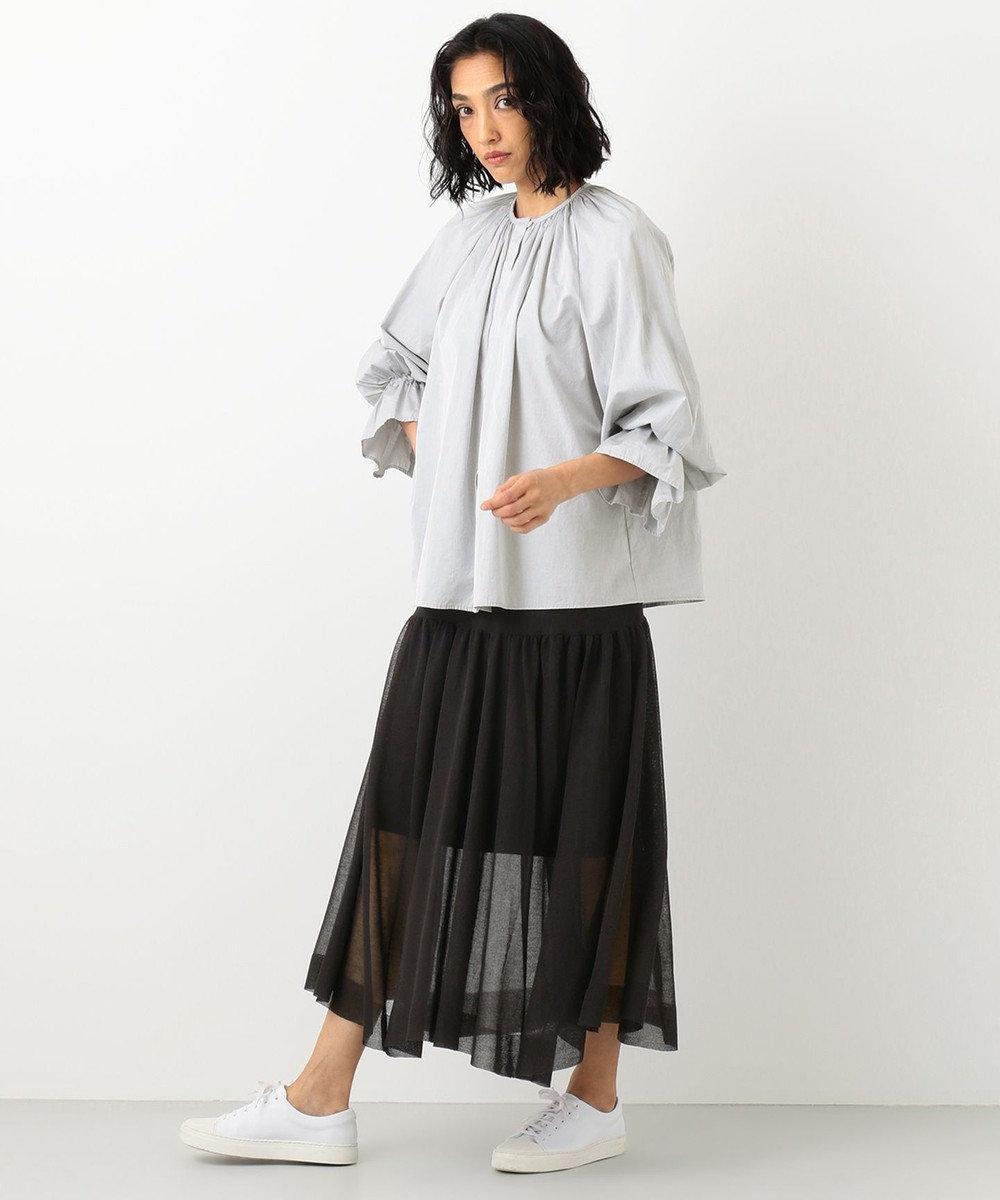 #Newans 【洗える】シアーニットスカート ブラック系
