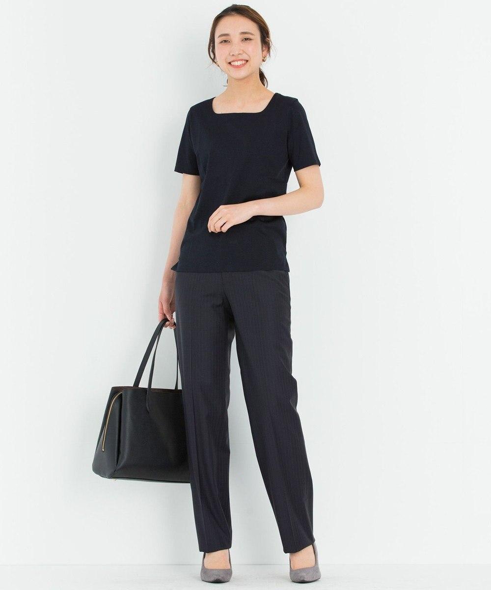 23区 L 【洗える】DOUBLE SMOOTH スクエア Tシャツ ネイビー系