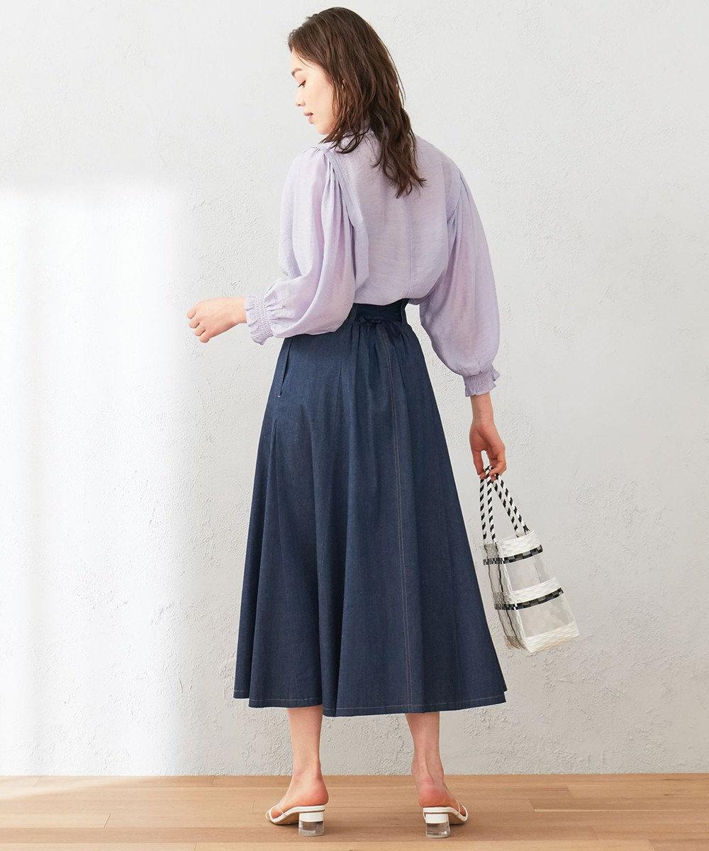 Feroux 【洗える】ボリュームフレアデニム  スカート インディゴ