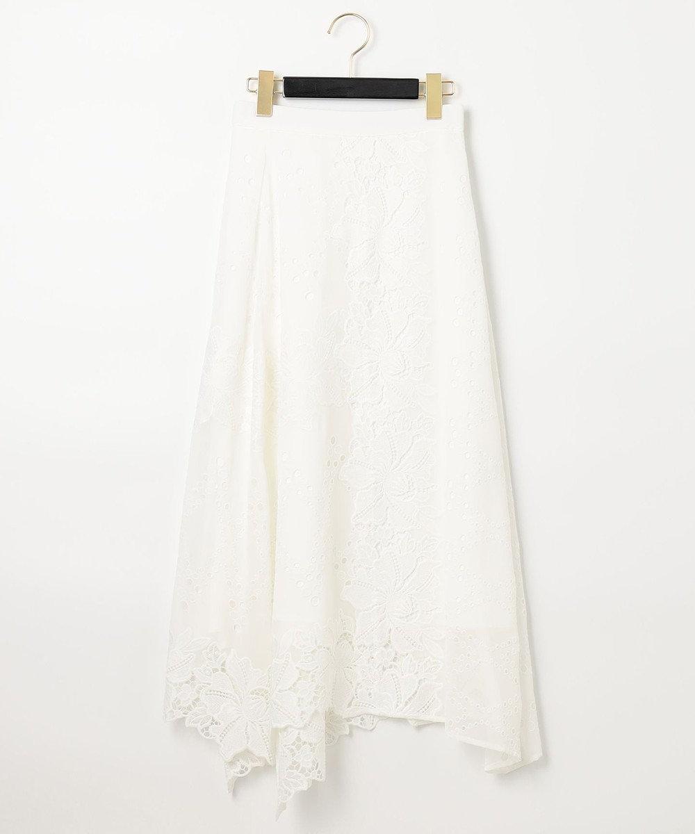 GRACE CONTINENTAL フラワーレーススカート ホワイト