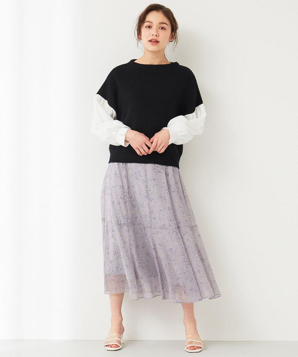 Feroux 【洗える】シャツコンビ ニット ブラック系