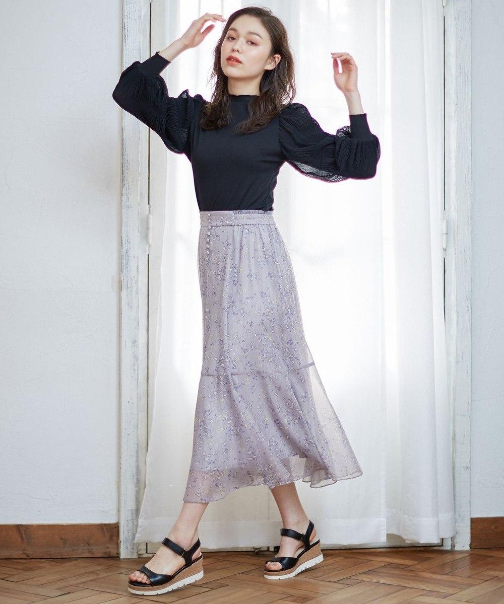 Feroux 【洗える】シャイニーチューリッププリント スカート ライラック系3
