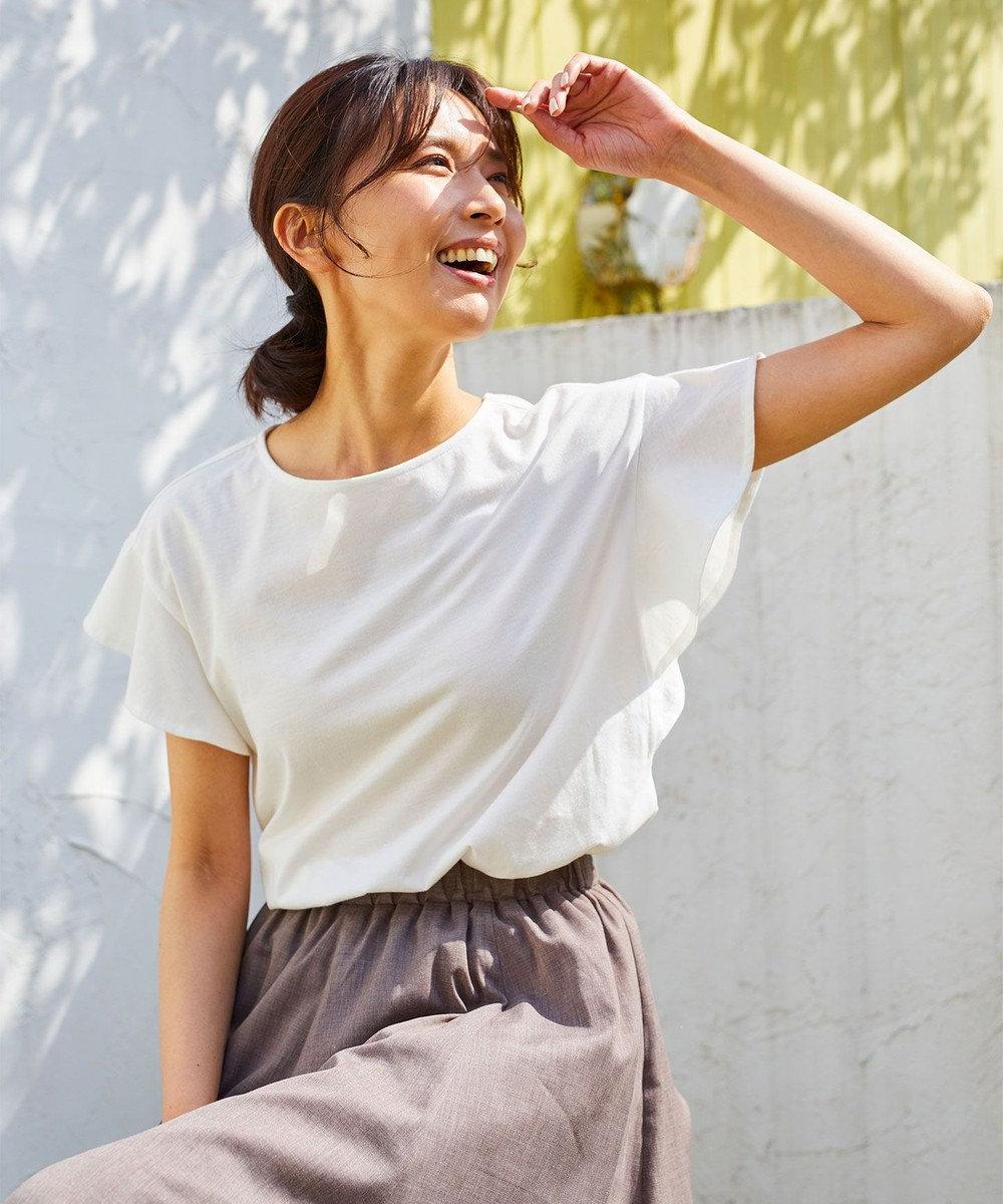 any FAM 【UVケア・接触冷感】フレアTブラウス Tシャツ アイボリー系