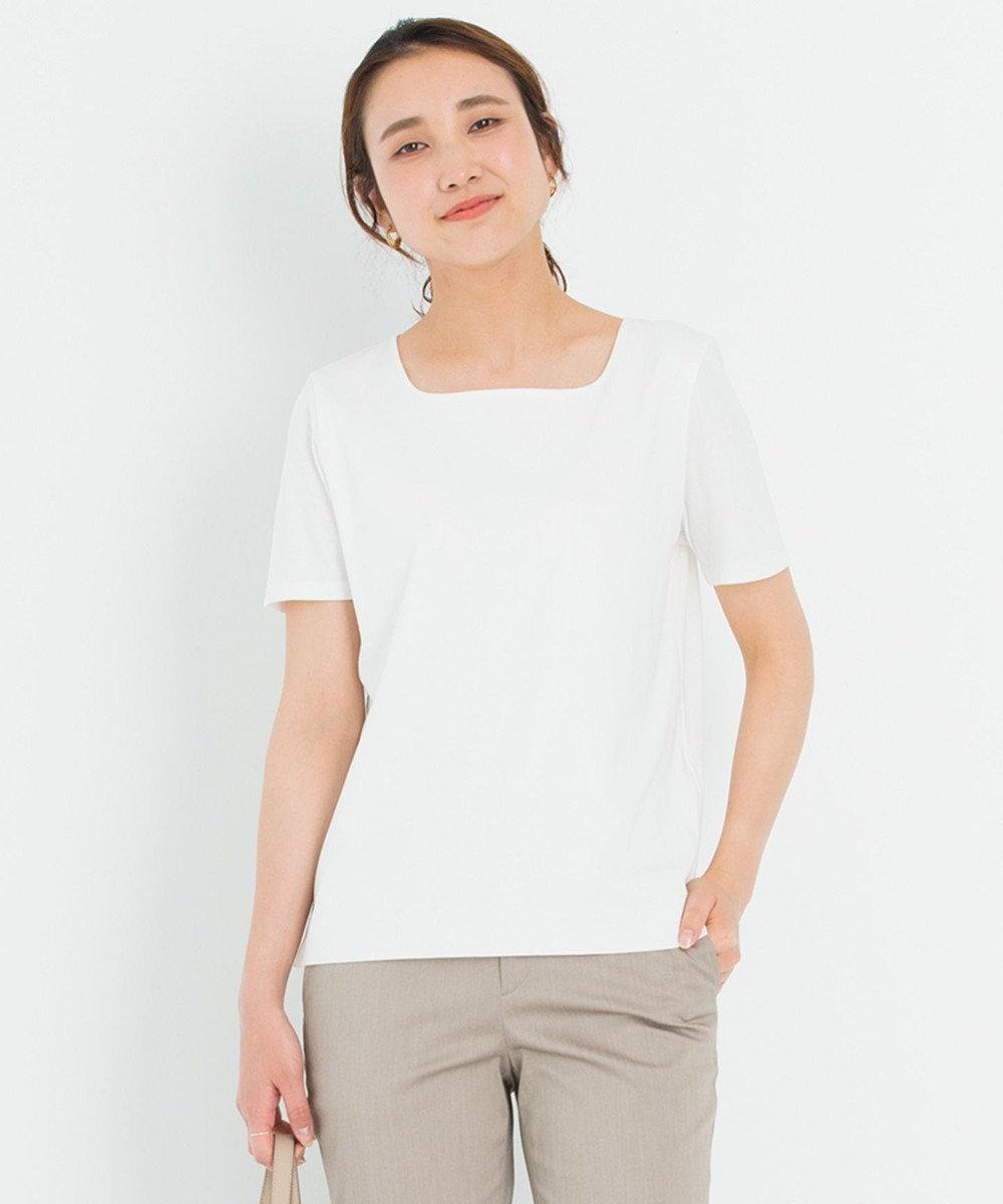 23区 【洗える】DOUBLE SMOOTH スクエア Tシャツ ホワイト系