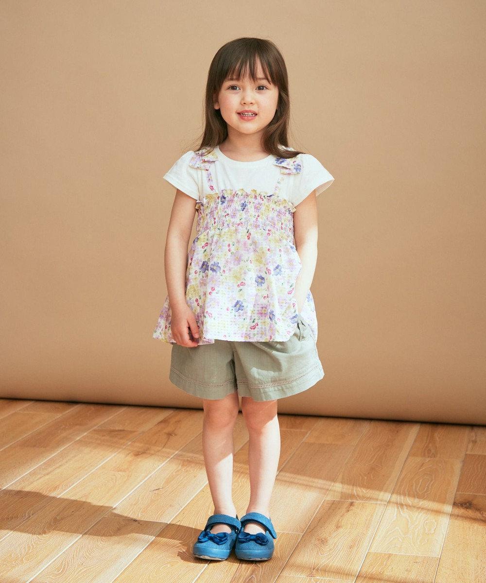 any FAM KIDS 重ね着風シャーリングチュニック丈 Tシャツ エクリュ×花柄