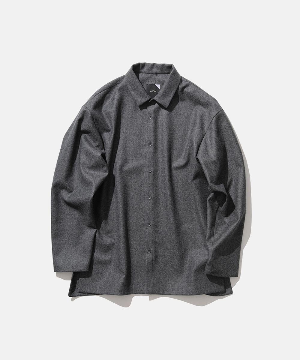 ATON WOOL SAXONY   オーバーサイズシャツ - UNISEX MIDDLE GRAY