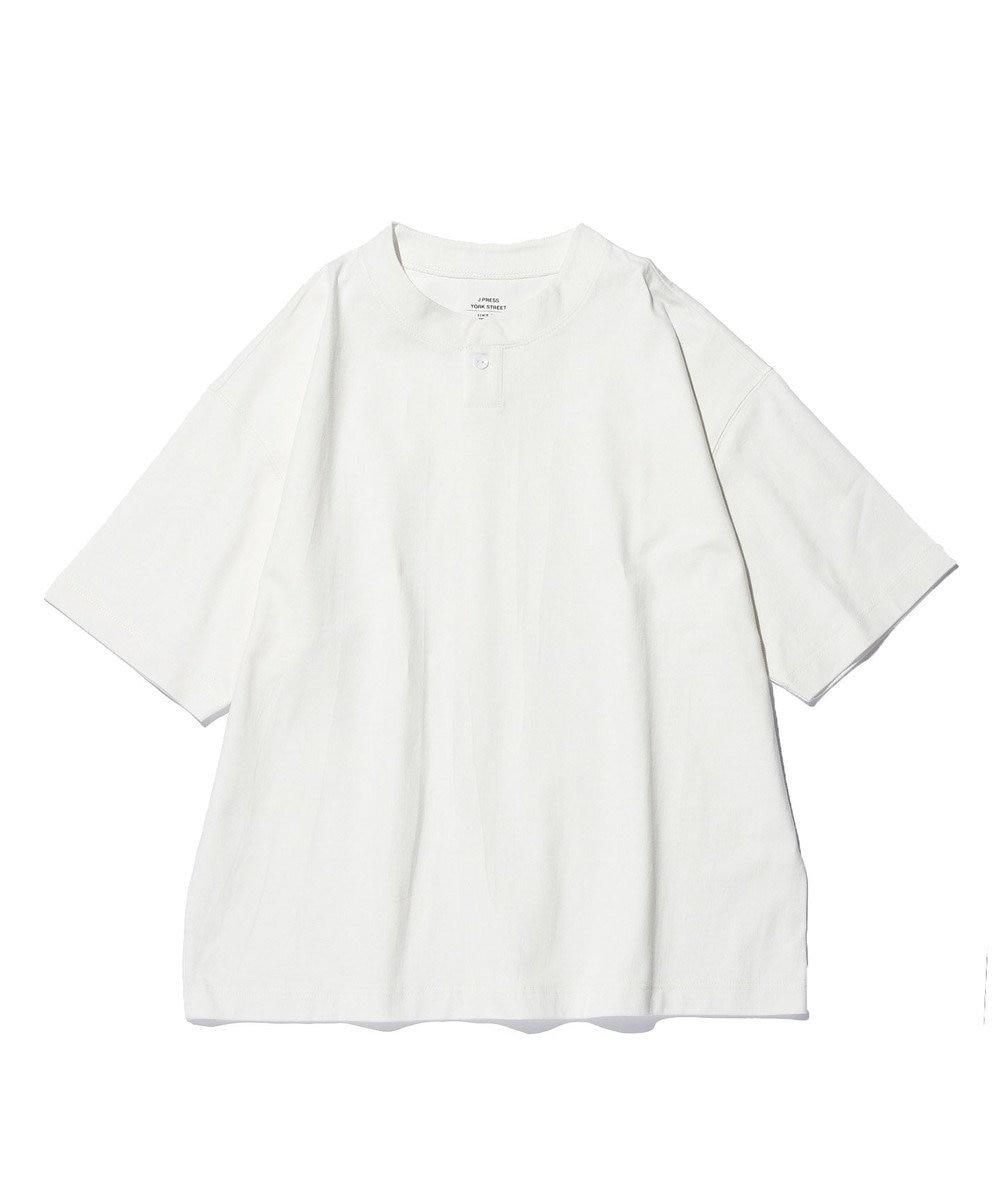 J.PRESS YORK STREET 【UNISEX】天竺ヘンリーネック Tシャツ アイボリー系