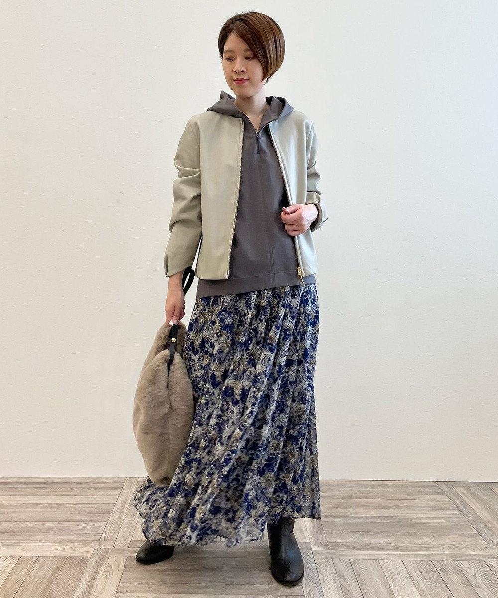 自由区 【新色追加!】ドローイングフラワープリント スカート ネイビー系5
