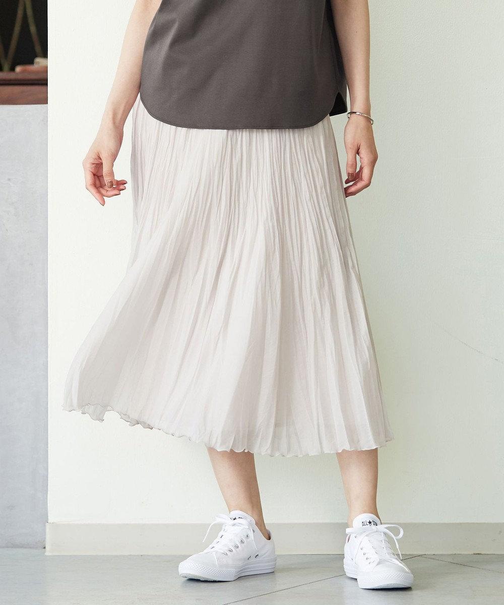 J.PRESS LADIES L 【洗える】ブライトスパンボイル スカート ベージュ系