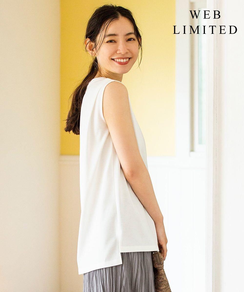 J.PRESS LADIES L 【WEB限定】防汚Tシャツ ノースリーブ ホワイト系