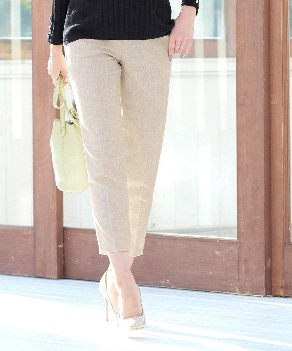 Tiaclasse L 【日本製・洗える】脚がきれいに見える、サマーTRテーパードパンツ ベージュ